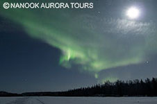 aurora and Full Moon